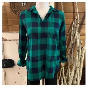 Anthropologie I Love H81 green/navy plaid shirt